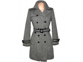 Vlněný dámský šedočerný kabát s páskem Orsay 40