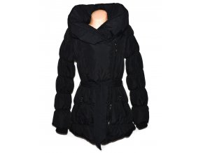 Péřový dámský černý šusťákový zateplený kabát - křivák s páskem Fresh Made L
