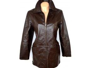 KOŽENÝ dámský hnědý kabát na zip MILAN LEATHER L