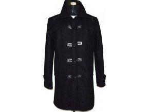 Vlněný pánský černý kabát na zip, vidlice M
