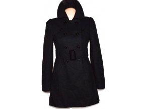 Vlněný dámský černý kabát s páskem JANE NORMAN 36