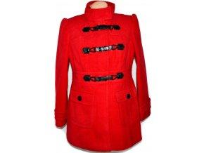 Dámský červený kabát na cvoky, pásky UK 16