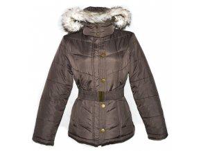 Dámský hnědý šusťákový kabát s páskem a kapucí F&F 40
