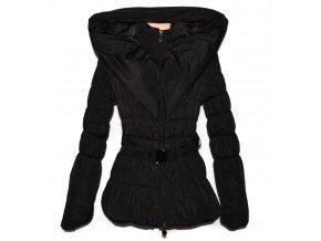 Dámský černý šusťákový kabát s páskem a kapucí L