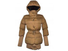 Dámský šusťákový teplý prošívaný hnědý kabát s páskem a kapucí XS
