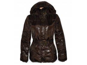 Dámský hnědý šusťákový kabát s páskem a kapucí  Orsay S