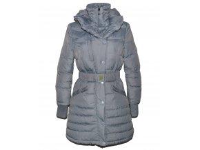 Péřový dámský šedý šusťákový kabát s páskem a límcem M
