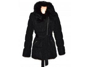 Dámský černý šusťákový kabát - křivák s páskem a kožíškem Orsay XL