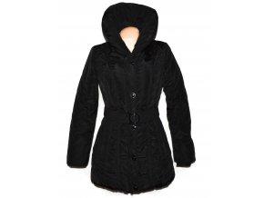 Dámský černý teplý šusťákový kabát s páskem Nature L