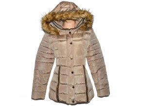 Dámský hnědý šusťákový prošívaný kabát s kapucí M