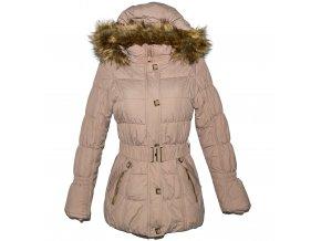 Dámský šusťákový béžový kabát s páskem a kapucí EW Club
