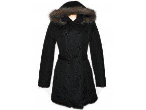Dámský černý prošívaný kabát s páskem a kapucí Kenvelo M