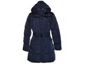 Dámský šusťákový modrý kabát s páskem a kapucí DAPPER L/XL