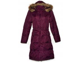 Dámský dlouhý šusťákový fialový kabát s páskem a kapucí Alpine Pro M