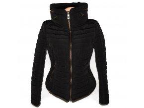 Dámská černá šusťáková prošívaná bunda s límcem ZARA L