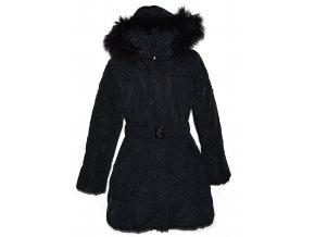 Dámský černý šusťákový kabát s páskem a kapucí Nature L