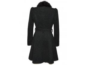 Dámský šedý kabát s páskem a kožíškem F&F 40