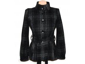 Dámský šedočerný kostkovaný kabát s páskem Debenhams M