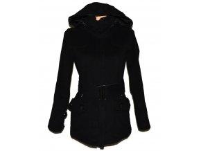 Vlněný dámský černý kabát s páskem a kapucí Philip Russel M
