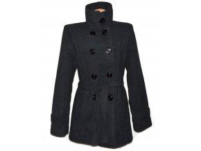 Vlněný dámský šedý zateplený kabát s páskem XXL