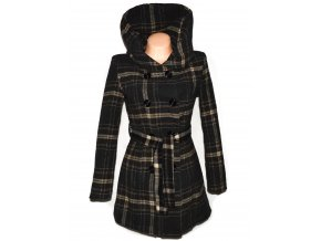 Vlněný dámský hnědý kabát s páskem a límcem L
