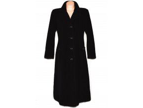Vlněný dámský dlouhý černý zateplený kabát L