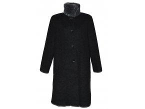 Vlněný dámský dlouhý šedý kabát s kožíškem (vlna, kašmír) 44