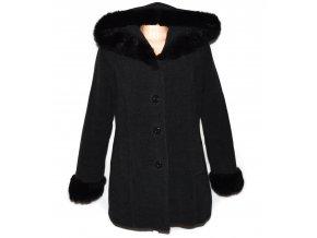 Vlněný dámský šedočerný zateplený kabát s kapucí  L/XL