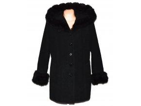 Vlněný dámský šedočerný zateplený kabát s kapucí XL