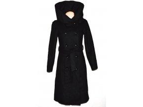 Vlněný dámský dlouhý černý kabát s páskem a límcem AMISU 36