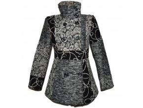 Vlněný dámský šedý vzorovaný kabát M