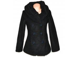 Vlněný dámský šedý kabát s čechraným límcem M