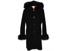 Vlněný (100%) dámský černý kabát s kapucí Daisy 44