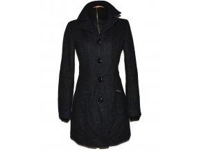 Vlněný dámský šedočerný kabát na zip M