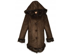 Dámský zimní hnědý zateplený kabát s kožíškem a kapucí XXXL