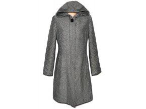 Vlněný dámský černobílý dlouhý kabát s kapucí Depeche