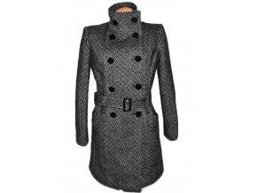 Vlněný dámský melírovaný kabát s páskem TREND 44