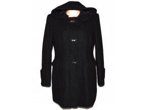 Vlněný dámský černý kabát s kapucí NEXT L