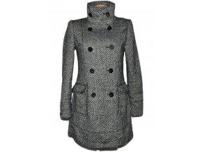 Vlněný dámský černobílý melírovaný kabát Bershka M