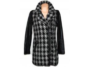 Vlněný dámský kabát - křivák s koženkovými rukávy 38 3