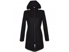 Vlněný (80%) dámský černý kabát s kapucí M