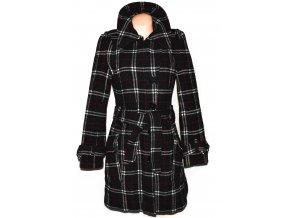 Vlněný dámský šedý zateplený kostkovaný kabát s páskem Livre S