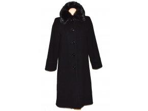 Vlněný dámský černý dlouhý kabát s kožíškem Marks&Spencer L