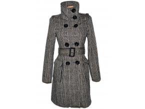 Vlněný dámský hnědý dlouhý kabát s páskem AMISU 36
