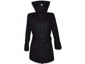 Vlněný dámský černý kabát s páskem Kenvelo Elements XL