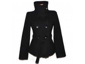 Vlněný dámský černý kabát s páskem S
