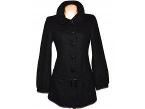 Vlněný dámský černý kabát s páskem C&A 40