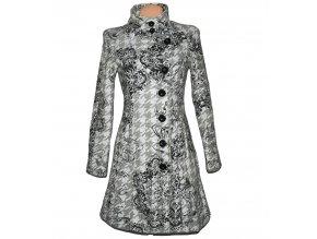 Dámský šedobílý kabát DESIGUAL 38