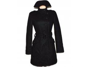 Vlněný dámský černý kabát s páskem AMISU 36