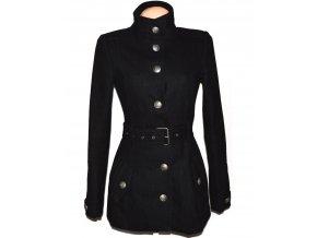 Vlněný dámský černý kabát s páskem CLOCKHOUSE S